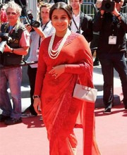 Bollywood Celebrity Vidya Balan - Red Sabyasachi Saree Cannes Red Carpet