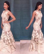 Gauhar Khan in a White Sahil Kochhar Dress