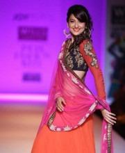 Actress Gauhar Khan displayed creations for Indian fashion designer Joy Mitra