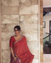 Kajol in a Red Coloured Anavila Misra Saree