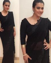 Kajol looks elegant in a Black Saree for Manish Malhotra