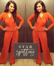 Sonakshi Sinha in an Orange Jumpsuit by Mandira Wirk