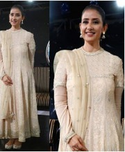 Manisha Koirala wearing a Tarun Tahiliani Anarkali suit for the NDTV Youth For Change Conclave