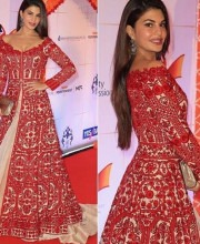 Jacqueline Fernandez in a Red Dress by Manish Malhotra for the Royal Visit