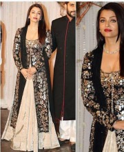 Aishwarya Rai in an Embroidered Black and Beige Outfit by Manish Malhotra