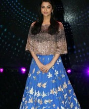 Aishwarya Rai Bachchan in a Crop Top and Blue Skirt by Manish Malhotra