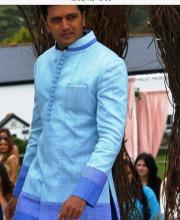 Ritesh Deshmukh in a Blue Sherwani by Manish Malhotra