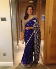 Miriam Clegg in Indian designer Anita Dongre Saree
