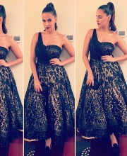 Neha Dhupia Wearing Sensational Black Dress by Shantanu & Nikhil