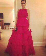 Neha Dhupia in a Red Shantanu Nikhil Gown for Filmfare