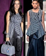 Neha Dhupia in Indian Designers Ankur and Priyanka Modi at Vir Das' Play