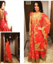 Preity Zinta Wears Gorgeous Red Dress Adorned with Gold Embellishments