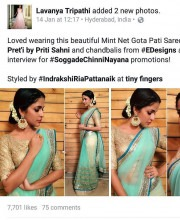 Lavanya Tripathi in a Mint Green Saree by Priti Sahni