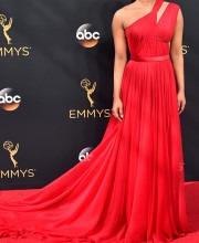 Priyanka Looks Magnificent In Crimson Jason Ju Dress