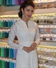Priyanka Chopra in a White Anita Dongre Suit at an event for Usha Sewing