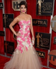 Priyanka Chopra Wears Strapless Pink and White Dress