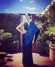 Sonam Kapoor in a Blue Structured Saree by Rimzim Dadu for Cannes 2016