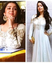 Charmy Kaur wearing Shillpa Purii Earrings in Hyderabad
