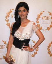 Bollywood Star Shilpa Shetty at the NYC Film Festival in a Tarun Tahiliani Dress