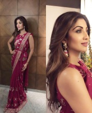 Shilpa Shetty in a Red Anita Dongre Saree