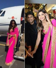 Shilpa Shetty in a Neon Saree at PC Jewellers Store Launch | Shilpa Shetty in a Neon Pink Saree at PC Jewellers Store Inauguration