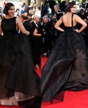 Indian actress Sonam Kapoor in Elie Saab dress for Cannes 2014