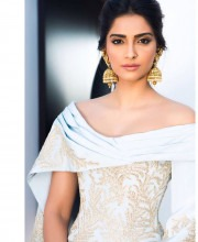Sonam Kapoor Blends Traditional and Contemporary - Ralph and Russo dress and Kalyan Jewellers Earrings