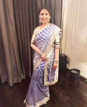 Urmila Matondkar in a Checked Saree by Manish Malhotra