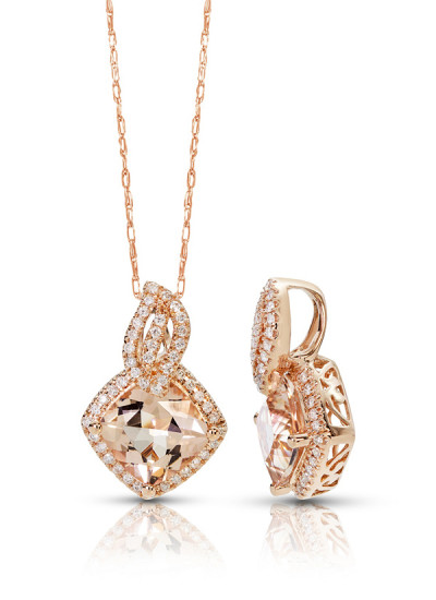 Indian Accessories Designers - Costar - Indian Fine Jewellery - Designer Necklaces - SOS-SS15-CJ-RP33512P-MO - Pretty Pink Gold Pendant