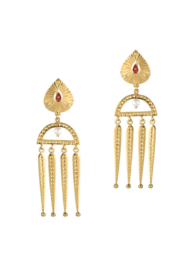 Indian Accessories Designers - Gitika Singh and Sreenivas Reddy - Indian Designer Jewellery - Earrings - ESA-SS15-ESA-0107 - Moghul Squadron Earrings