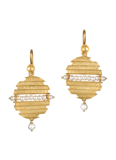 Indian Accessories Designers - Gitika Singh and Sreenivas Reddy - Indian Designer Jewellery - Earrings - ESA-SS15-ESA-0110 - Disc Earrings with Pearl Detailings