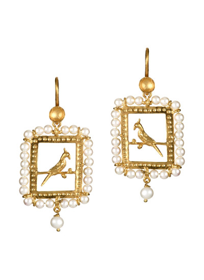 Indian Accessories Designers - Gitika Singh and Sreenivas Reddy - Indian Designer Jewellery - Earrings - ESA-SS15-ESA-0112 - Rectangular Bird Design Earrings