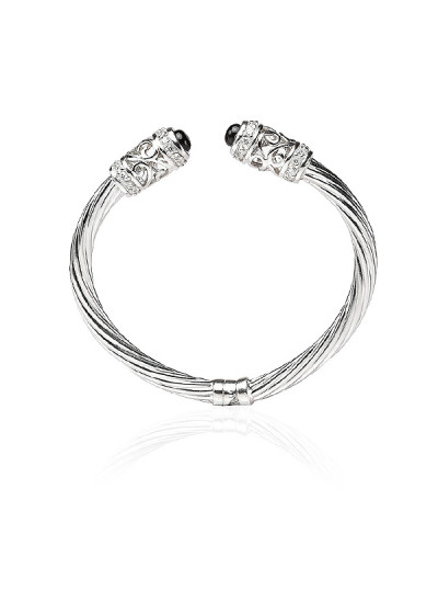 Indian Accessories Designers - Lecalla - Indian Designer Jewellery - Braclets - LEC-SS16-BG1268A - Chic Sterling Silver Bangle