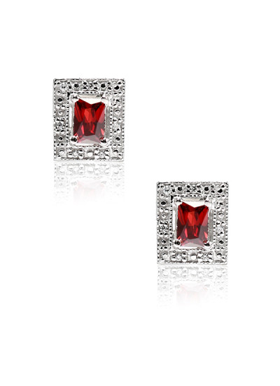 Indian Accessories Designers - Lecalla - Indian Designer Jewellery - Earrings -  LEC-SS16-JE132185M1RH - Red Stone Stud Earrings