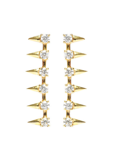 Indian Accessories Designers - Lecalla - Indian Designer Jewellery - Earrings -  LEC-SS16-JE180463A18FG - Spike Stud Earrings