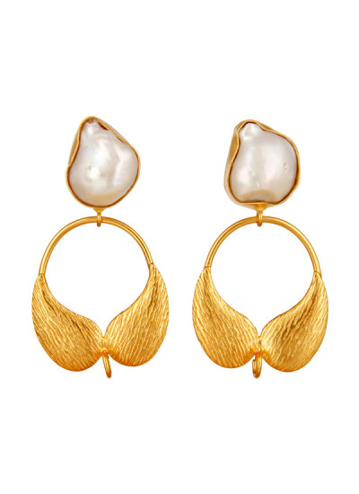 Indian Accessories Designers - Urban Dhani - Indian Designer Jewellery - Designer Earrings - UD-SS15-GE-16 - Natural Pearl with Leaves Earrings