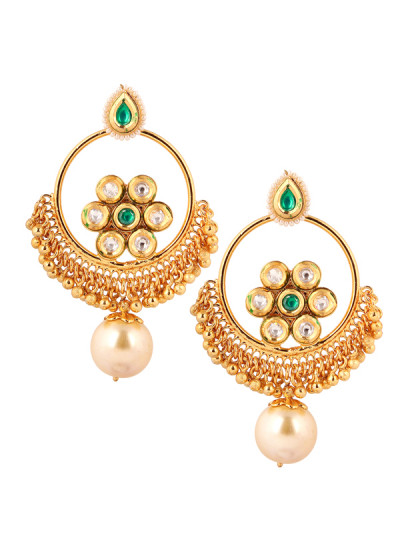 Indian Accessories Designers - Yosshita-Neha - Indian Designer Jewellery - Earrings - YN-SS15-EAR-475 - Pearl Drop Chandelier Earrings