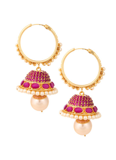 Indian Accessories Designers - Yosshita-Neha - Indian Designer Jewellery - Earrings - YN-SS15-EAR-477 - Ruby and Pearl Jhumkis