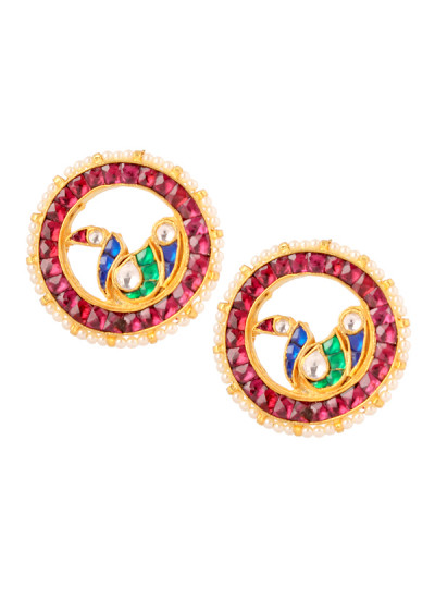 Indian Accessories Designers - Yosshita-Neha - Indian Designer Jewellery - Earrings - YN-SS15-EAR-488 - Peacock Design Earrings