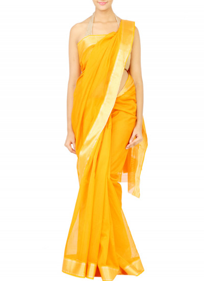 Indian Fashion Designers - Coorv - Contemporary Indian Designer Clothes - Sarees - CRV-AW15-10B - Orange Maheshwar Saree