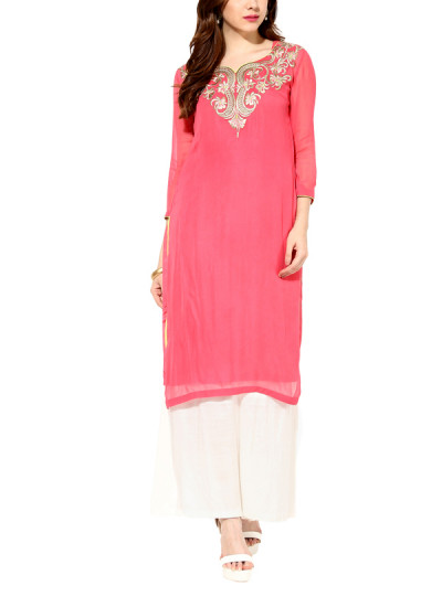 Indian Fashion Designers - House Of Trove - Contemporary Indian Designer - Tunics - HT-AW15-S005A - Coral Embellished Tunic Set