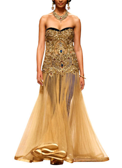 Indian Fashion Designers - Mandira Wirk - Contemporary Indian Designer - Gowns - MW-SS15-BR-004 - Gorgeous Corset Gown