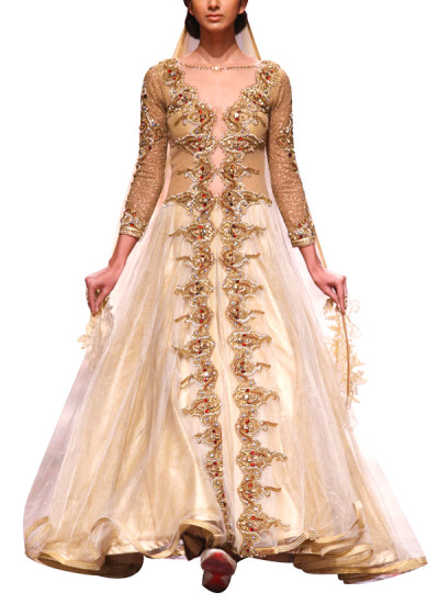 Indian Fashion Designers - Mandira Wirk - Contemporary Indian Designer - Gowns - MW-SS15-BR-007 - Regal Golden Gown