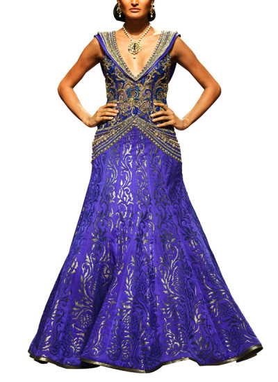 Indian Fashion Designers - Mandira Wirk - Contemporary Indian Designer - Gowns - MW-SS15-BR-010 - Cutwork Fish-Cut Gown