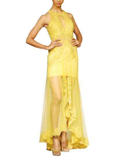 Indian Fashion Designers - Mandira Wirk - Contemporary Indian Designer - Gowns - MW-SS15-MW-013 - Yellow Cascade Gown
