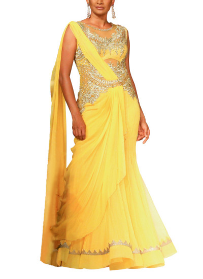 Indian Fashion Designers - Mandira Wirk - Contemporary Indian Designer - Gowns - MW-SS15-MW-015 - Lovely Mango Toned Gown