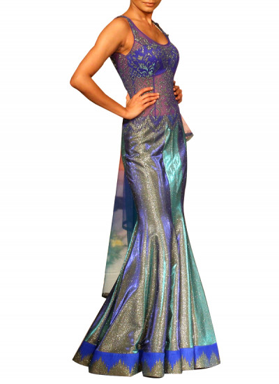 Indian Fashion Designers - Mandira Wirk - Contemporary Indian Designer - Gowns - MW-SS15-MW-016 - Blue Shaded Cutwork Gown