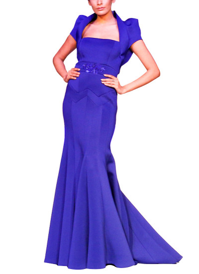 Indian Fashion Designers - Mandira Wirk - Contemporary Indian Designer - Gowns - MW-SS15-MW-023 - Royal Blue Neoprene Gown