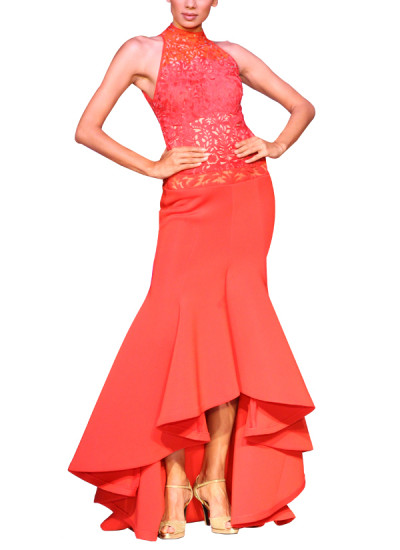 Indian Fashion Designers - Mandira Wirk - Contemporary Indian Designer - Gowns - MW-SS15-MW-024 - Red Asymmetric Neoprene Gown
