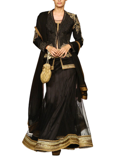 Indian Fashion Designers - Mandira Wirk - Contemporary Indian Designer - Lehangas - MW-SS15-MW-033 - Black Jacket Style Lehenga